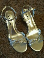 NEW WOMEN'S TOUCH OF NINA HEELS (DRESS SHOES) SILVER 6M WEDDING PROM NWOB