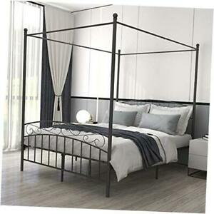 Size Sturdy Metal Canopy Bed Frame with Headboard and Queen Black