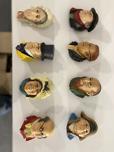 bossons chalkware heads lot of 8 Dickens characters