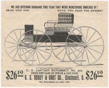 Vintage U.S. Buggy & Cart Company Horse Drawn Carriage Handbill