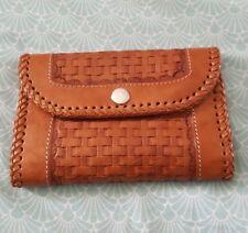 HANDMADE Boho Tooled Embossed Weaved Tan Brown Leather Wallet Purse LIKE NEW