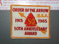 Boy Scout Order of the Arrow 1965 50th Anniversary Sash Award 9020K