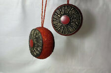 Christmas Beaded Ornaments Dillards Trimmings Round Hanging Red Orange Ornate -2