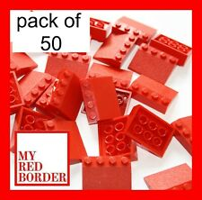 LEGO RED ROOF TILES 3297 3X4 PACK OF 50 BRICKS / PARTS FOR CITY HOUSE 33 SLOPE