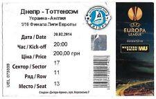 Football ticket > Dnipro Dnipropetrovsk V Tottenham Hotspur Feb 2014 in (environ 5115.56 cm) Ukraine