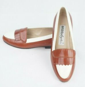 NEW Enzo Angiolini Brown and White Kiltie Leather Loafer Womens US Size 5 1/2M