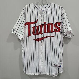 VTG Majestic Minnesota Twins  Pinstripe White Baseball Jersey Mens L Sewn