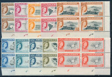 ASCENSION 1956 DEFINITIVES SG57/66 PLATE BLOCKS OF 4 MNH
