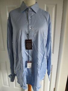 "Brook Taverner ANDORA double cuffed shirt - blue herringbone - 17.5""/44-45cm"