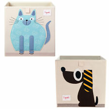 3 Sprouts Children's Fabric Storage Cube Bundle with Blue Cat and Brown Dog