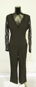 Shein Women's Long Sleeve V- Neck Lace Sleeve Jumpsuit AL8 Black Medium