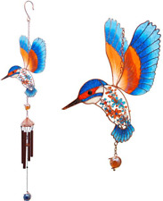 Stained Glass Kingfisher Hanging Sun Catcher Mobile Windchime Window Garden Bird