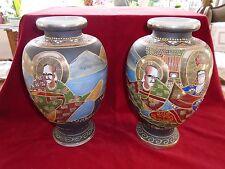 Paire de vases anciens, grands vases satsuma, Vases japonais anciens