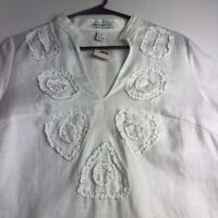 New Saint Tropez Women's Long Sleeve Blouse Top Small S White 100% Linen Summer