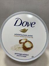 Dove Exfoliating Body Polish Body Scrub, Macadamia & Rice Milk, 10.5 oz.