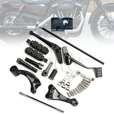 Black Forward Control Complete Pegs Levers Linkage for Harley Sportster 14-2017