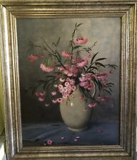 Ölgemälde Gemälde Stillleben Blumen Alt Antik Signiert