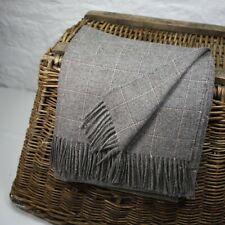 Flecked Grey  100% Wool British Made Tweed Fabric Blanket Throw *Not Harris