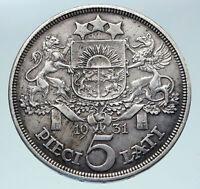 1931 LATVIA w Female Headwear 5 Lati LARGE Vintage Silver European Coin i86347
