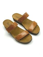 NAOT NEW $149 Leather Woven Braided Double Strap Slides Shoes Size 39 US 8