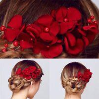 Headpiece Crystal Hair Clip Bridal Hairpin Red Flower Bridesmaid Barrette
