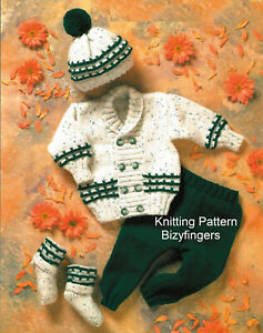 """Baby Boys Double Breasted Jacket Cardigan Trous Hat KNITTING PATTERN DK 12 - 20"""""""
