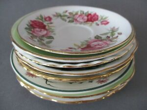 X8 Vintage Miss-Matched Bone China Tea Plates and Saucers only, No cups, Job Lot