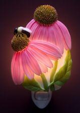 "Pink Coneflower Bee Night Light 6"""