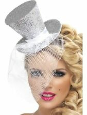 Ladies Womens Girl Fever Sexy Mini Top Hat Headband Silver Fancy Dress Burlesque