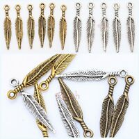 100Pcs Tibetan Silver/Golden/Bronze Leaf Charms Pendant For Jewelry Making Diy