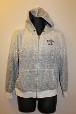 Xios Inspired Garment Men's White / Gray Cotton Blend Full Zip Hoodie Size M