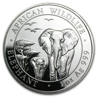 2015 1 oz 999 Fine Silver Coin - Somalia - African Wildlife - Elephant