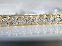 "Ross Simons CHUNKY Gold Sterling Silver 925 Diamond Accent Wide Bracelet 7.5"""