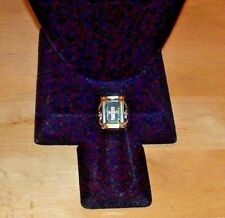 LARGE BOLD YELLOW CRYSTAL RING w/EMBEDDED CENTER CROSS+CRYSTAL BAND FREE SHIP!!!