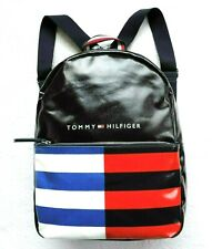 Tommy Hilfiger Women's Faux Leather Signature Backpack, Black/Blue/Red/White