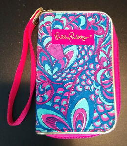 LILLY PULITZER Wristlet Wallet Pink and Blue Paisley Butterfly Wings EUC