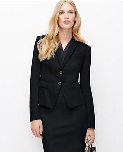 Ann Taylor Regular Size 6 Black Cotton Sateen Two-Button Jacket $179.00 NWT (H)