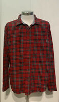 Eddie Bauer Flannel Button Down Long Sleeve Red Plaid Shirt Men's XXL