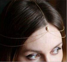 Boho Pop Metal Crystal Drop Gold Chain Head Jewelry Headband Headpiece Hair band