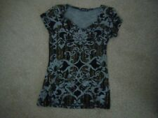 Ladies Black and Grey Cap Sleeved Top Size 10 from Kaleidoscope