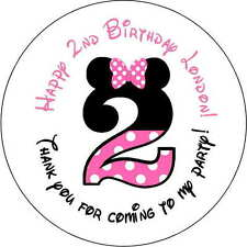 24 stickers 1.67 Inch Personalized round birthday party minnie mouse 2nd pink
