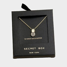 Pineapple Necklace Tiny Secret Gift Box 14K GOLD DIPPED Fruit Welcome Pendant CZ