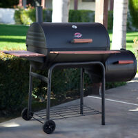 Black Charcoal BBQ Grill Smoker Combo Outdoor Home Barbecue Cooking Cover Patio