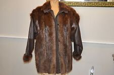 vintage brown raccoon fur leather jacket coat sleeves off for VEST