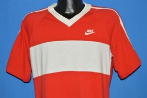 vintage 80s NIKE RED WHITE STRIPED VNECK JERSEY STRIPED USA MADE t-shirt LARGE L