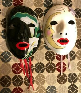 Vintage 1983 Vandor Clown Mask Masks Pelzman Japan1980s White Moon Black Floral