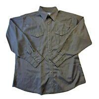 Wrangler Mens Black Pearl Snap Long Sleeve Button Up Dress Shirt Size XL