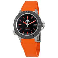 Glycine Combat Sub Aquarius Black Dial Orange Rubber Mens Watch