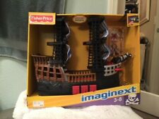 Fisher price Imaginext Black and Red Pirate Ship with 2 Figures- New