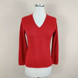 Neiman Marcus 100% Cashmere V-Neck Sweater Scotland S Small Dark Red